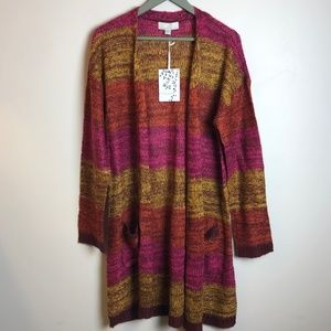 NWT Carolyn Taylor Stripe Ombre Duster Sweater, Lg